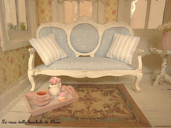 Shabby Chic French Sofa 1 12 Dolls House Dollhouse Miniature