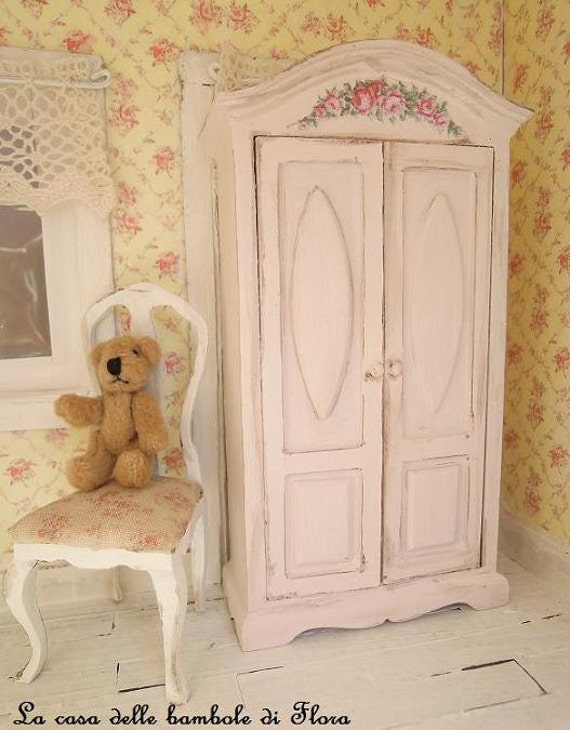 pale pink princess wardrobe 1 12 dolls house by floradollhouse. Black Bedroom Furniture Sets. Home Design Ideas