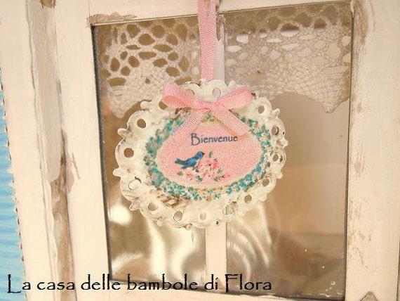 Door welcome plaque - 1/12 dolls house dollhouse miniature
