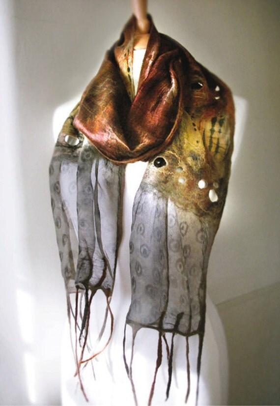Beautiful nuno felted scarf in merino wool and silk