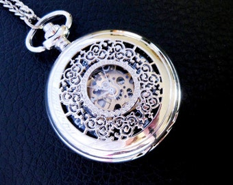 SKELETON Pocket Watch Necklace VICTORIAN Filigree Lace MECHANICAL Silver Groomsmen Gift