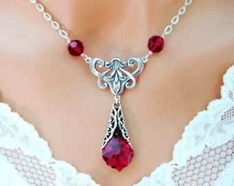 VICTORIAN NECKLACE RED Ruby Wedding Jewelry Filigree Bridesmaid Gift