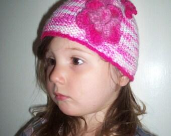 Handmade in Australia Knitted and Crocheted Girl's Flower Beanie Hat Pink