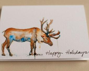 Happy Holidays- Reindeer Card