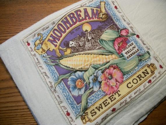Dish Towel with Sweet Corn Cotton Flour Sack Kitchen Towel