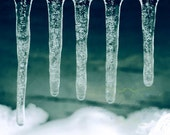 aqua decor winter icicles ice teal navy aqua white / 8x10 Fine Art Photograph / Ocean Ice