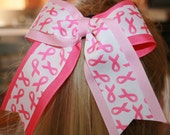 Extra Large Breast Cancer Awareness Pink Twist Cheer Bow