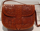 Tooled Leather Purse Vintage Handmade Peru or Mexico Kawaii Sun God Temples Spirits Cowgirl Strap Souvenir Ladies Bag FREE SHIPPING
