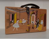 RESERVED  Ballet Purse Ballet Dancers Wood Box Bag Hand Painted Made in Japan OOAK Dance Practice Renaissance Music Free Ship