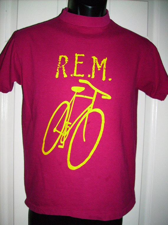Bicycle R.E.M. T-shirt 1984 Reckoning Little America Tour Small Cotton retro Vintage Logo FREE Shipping Alternative Rock and Roll REM