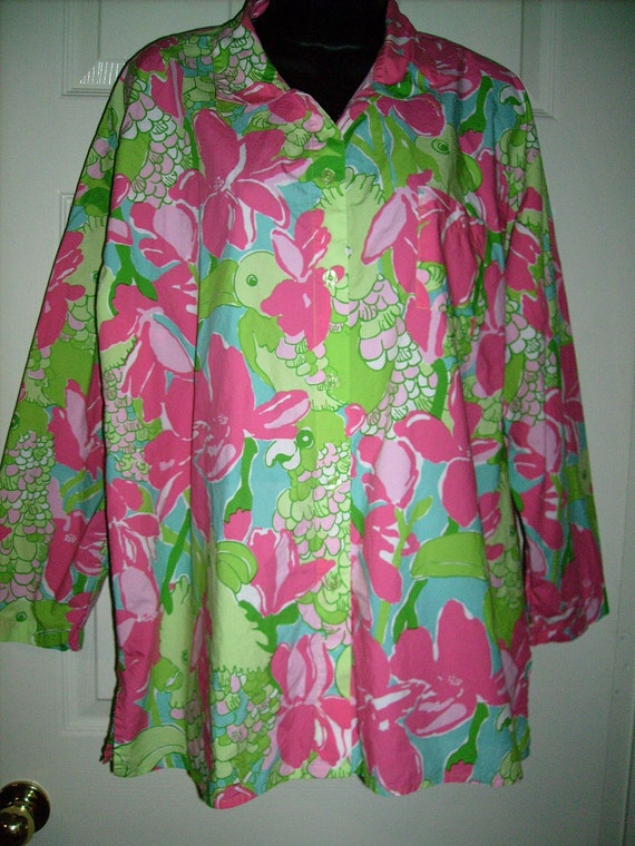 Vintage 90's Lilly Pulitzer Parrot Blouse Extra Large Pink Green FREE SHIPPING Cockatiel Toucan Abstract Print