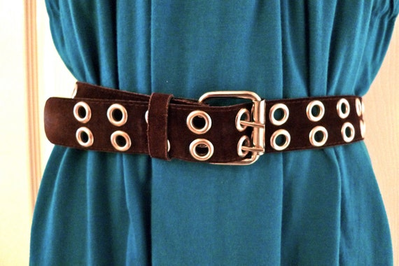 Leather Suede Belt Brown Silver Grommet Small 34 inch Waist vintage retro 70's Rocker Hippie Wide FREE SHIPPING