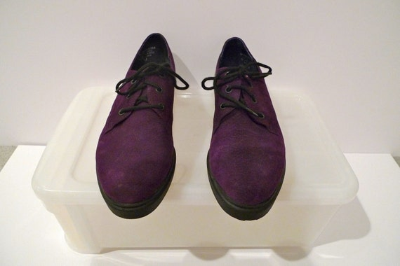 Purple Oxfords Ladies Shoes Esprit Purple Suede Leather Lace Up Loafers Oxford Plaid Lining Grunge Flats Size 8.5 M FREE SHIPPING