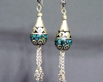 Tibetan Silver Turquoise Inlaid Earrings
