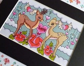 My Deer Love - 4x6 Original tattoo style Art