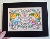 Little Love Birds - Original 5x7 matted Tattoo Style Art