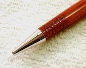 Sale - Tulipwood Rhodium (Platinum) Twist Pen with Knurled Grip - Price Reduced