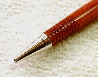 Sale - Tulipwood Rhodium (Platinum) Twist Pen with Knurled Grip - Price Reduced