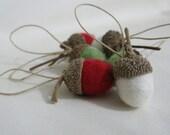 6 felted acorn christmas ornaments