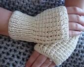 GLOVES SALE Fingerless Womens Gloves in Soft White Mittens Winter Accessories