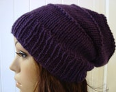 Hat, Beanie, Knit, Winter, Girls, Men, Women, Slouchy Beanie in Eggplant Purple Shabby Chic Hippie Style Fashion Hats