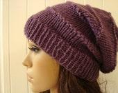 Slouchy Beanie in Dusty Purple Shabby Chic Hippie Style Fashion Beanie