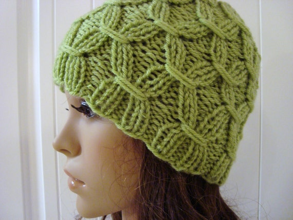 Womens Beanie Hat in Light Green Shabby Chic Fashion Beanie Womens Winter Accessories