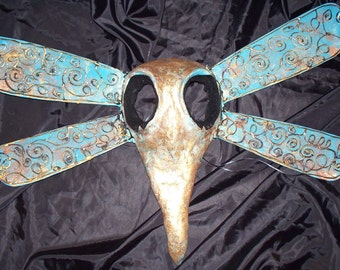 wall mask, Dragonfly Mask, Hand Sculpted, gold and turquoise, paper mache clay, Masquerade Mask, Wearable, Costume Mask, Halloween mask