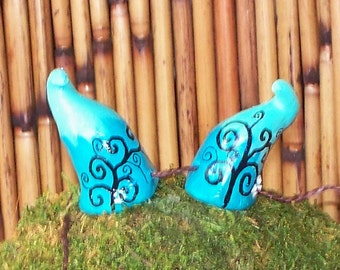 Costume tiny minty blue horns, ooak, ren faire horns, hand drawn ink details