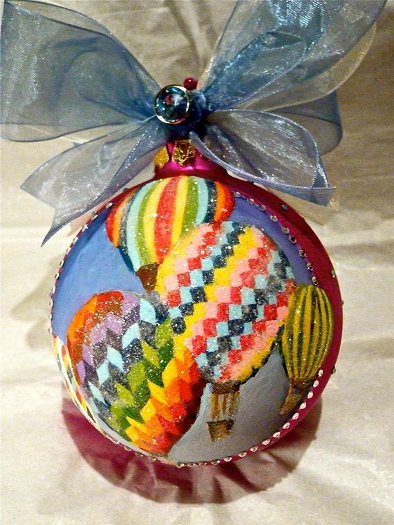 Hot Air Balloons Glitter Hand Painted Ornament