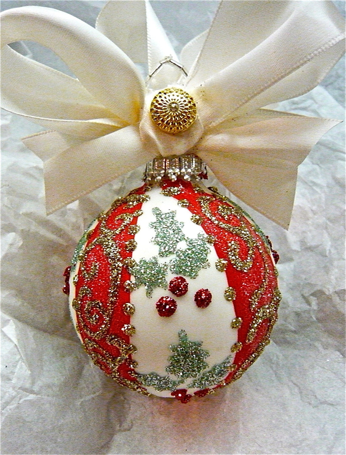 Holiday hand painted glass ornament for Christmas glass painting