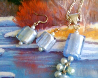 Italian glass necklace and earring set