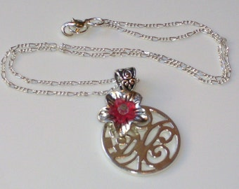 Silver Disc Necklace and Pendant