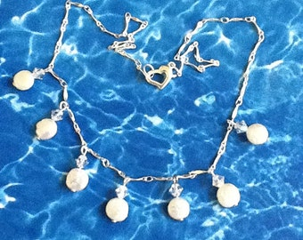 White Coin Pearl and Swarovski Crystal Necklace