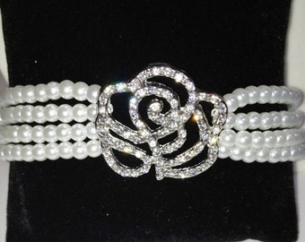 Bridal Crystal Rose and Pearl Bracelet