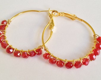 Red Crystal Hoop Earrings