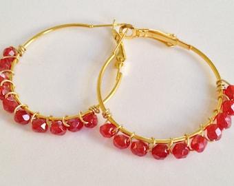 Red Crystal Hoop Earrings
