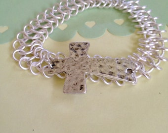 Bridal Silver Cross Bracelet