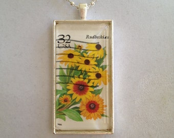 USA Flower Stamp Pendant Necklace