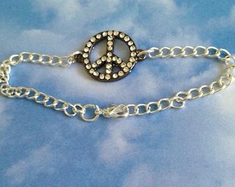 Peace Sign Crystal Bracelet
