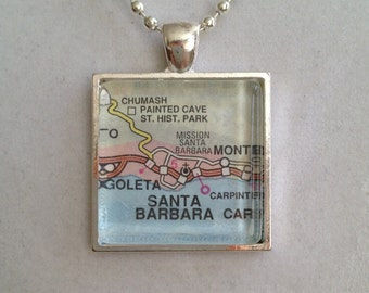 Santa Barbara Map Pendant Necklace