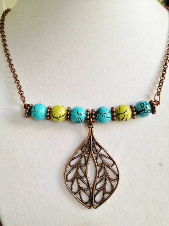 Copper Leaf and Bead Necklace