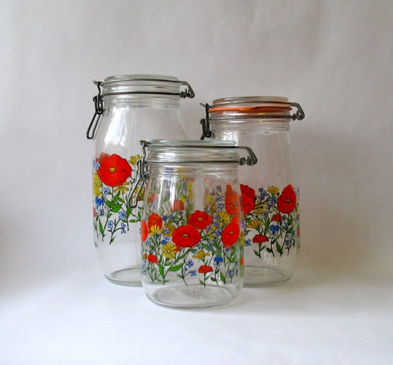 arc of france floral canister set 3 by theelmsvintage on etsy