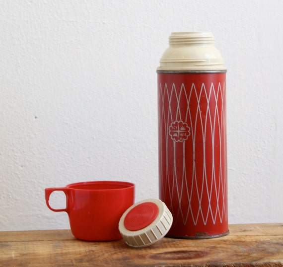Vintage Red and Silver Thermos