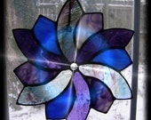 Sacred Geometry Art Glass Spiral Star Stained Glass Suncatchers in Blues