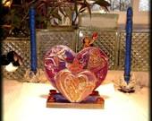 Handpainted Decoupage Sun,Moon,Stars and Hearts Napkin Holder Centerpiece
