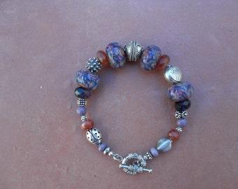 Lampwork and silver bracelet