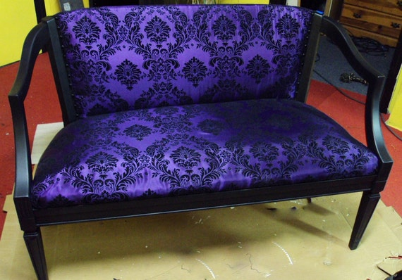 Vintage Purple Sateen and Black Velvet Damask Upholstered Wooden Love Seat Settee
