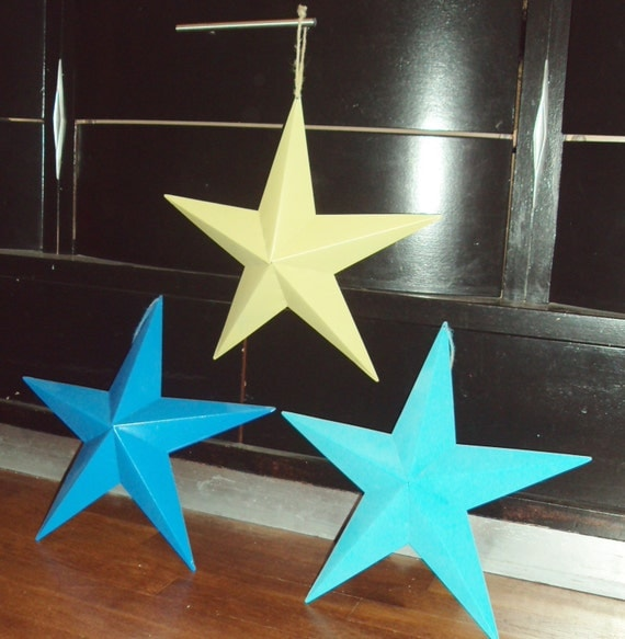 Blue Star Wall Decor : Set of tin star wall art decor blue green teal