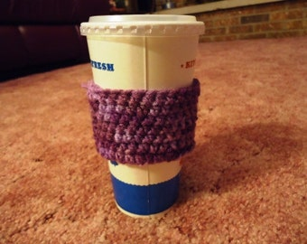 RTS- Reusable Eco Friendly Crocheted Coffee Drink Tumbler Cup Cozy Sleeve in Purple Passion